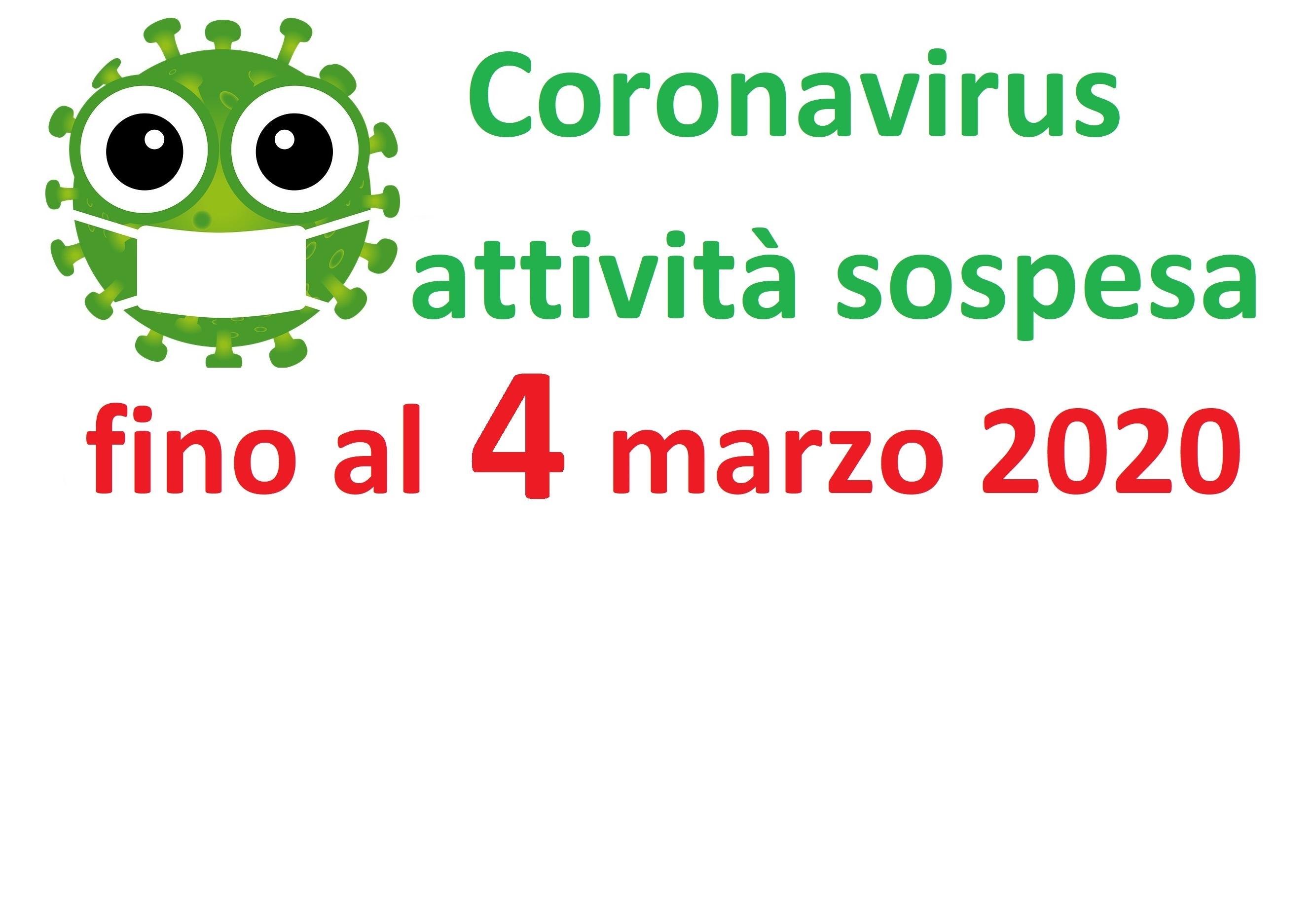 Coronavirus: sospesa l'attività fino a mercoledì 4 marzo